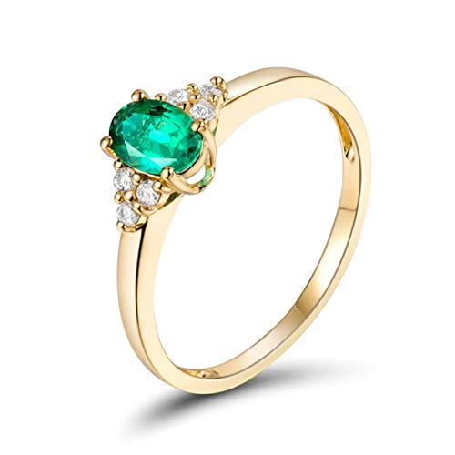 Amody Womens Emerald Engagement Rings, 18K Yellow Gold Ring 0.5ct Oval cut Emerald with 0.09ct Diamond Size K 1/2