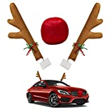 Silent Monkey Car Reindeer Antlers & Nose and Tail Auto Decoration Kit Jingle Bell Holidays Christmas Costume for Car SUV Van Truck, Xmas Gift Set