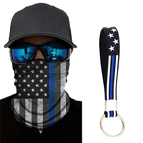 Thin Blue Line Neck Gaiter with Free Thin Blue Line Flag Key Chain, Police Face Mask, American Flag Face Mask, Support First Responders Neck Gaiter For Men and Women.