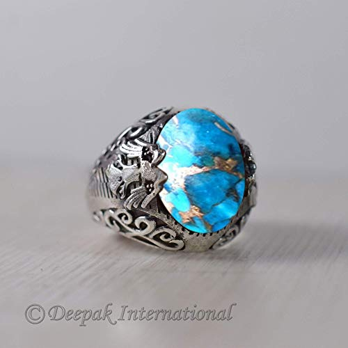 Ring For Her Gift Blue Copper Turquoise Ring Daughter Gift Ring Anniversary Ring 925 Sterling Silver Ring Blue Turquoise Gemstone Ring