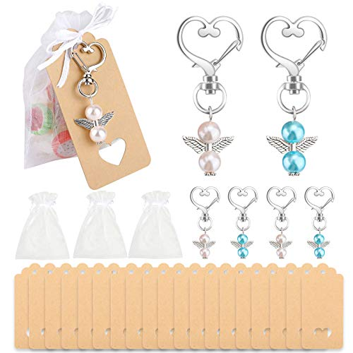 HOWAF Thank You Gift Angel Keychains Wedding Favors Guardian Guest Return Gifts for Christening Baby Shower Birthday Giveaway