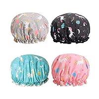 Kingsie シャワーキャップ ユニコーン 4枚セット 二重層 ヘアキャップ 可愛い 動物 キャラクター 防水帽子 レディース 入浴キャップ シャワー お風呂 バスグッズ