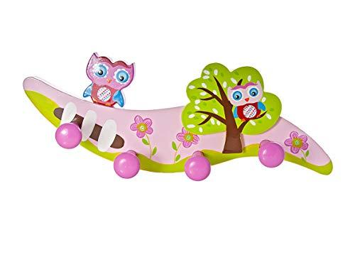 Mousehouse Gifts Kinder Wandhaken Kleiderhaken Rosa Eule für Mädchen Kinderzimmer