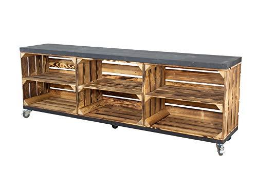 Vintage Möbel 24 GmbH Kommode aus Kisten und Bohlenbrettern auf Rollen, Regal, Raumtrenner in verschiedenen Größen (150x53x30cm)