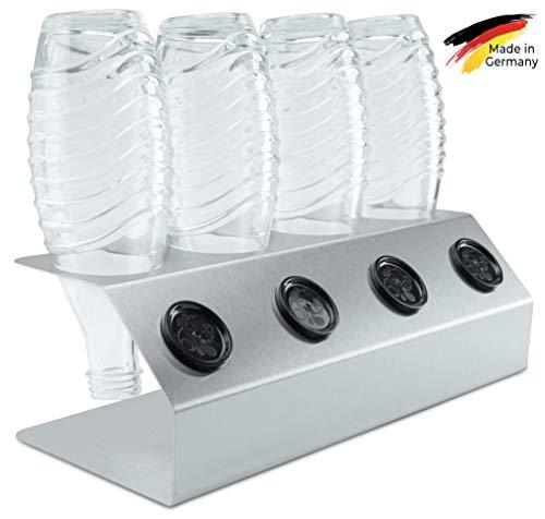SodaNature™ | 4er Edelstahl-Abtropfhalter optimiert für SodaStream Crystal Glasflaschen | Flaschenhalter für Glas- & PET-Flaschen | spülmaschinenfest & rostfrei | Made in Germany