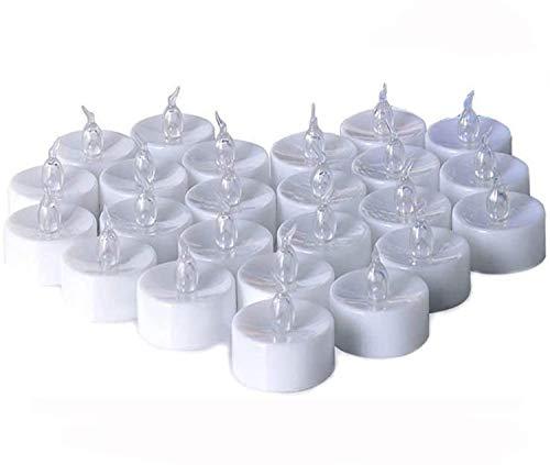 Zenoplige Teelichter batterie 24 Flameless Kerzen inkl. Batterien CR2032, flammenlose LED Teelichter flackernd Kerzen mit Flackereffekt Warmweiß
