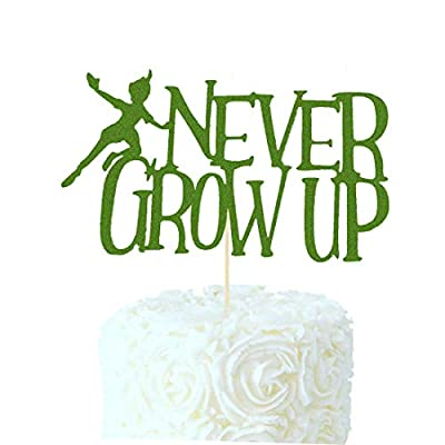 Never Grow Up Cake Topper Peter Pan Neverland Tinkerbell Birthday Party Decorations Supplies Baby Boy