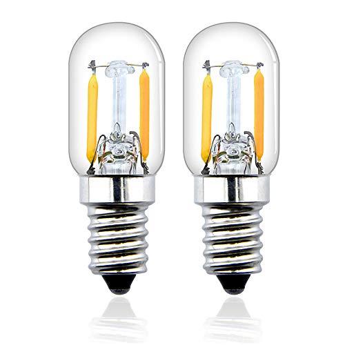 Bonlux T22 E14 2W LED Filamento Vintage Edison Bombilla para frigorífico, nevera, microondas, máquina de coser, lámpara de escritorio (2-unidades, luz cálida 2700k)