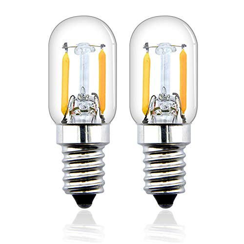 Bonlux T22 E14 2W LED Filamento Vintage Edison Bombilla para frigorífico, nevera, microondas, máquina de coser, lámpara de escritorio (2-unidades, luz fría 6000k)