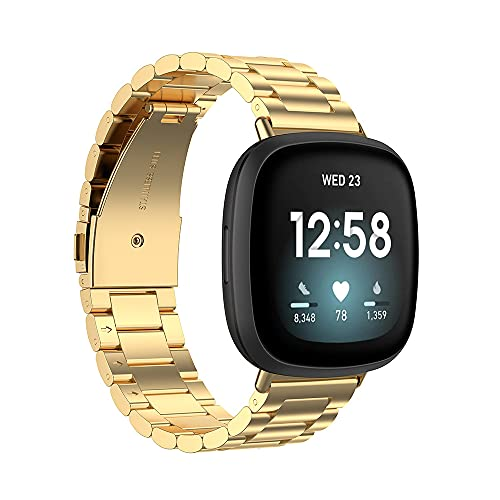 G-RF Bandas De Reloj para Fitbit Versa 3 / Sense Acero Inoxidable De Tres Cuentas De Metal Correa (Oro)