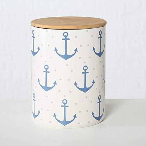 Home Collection Steingut Vorratsdose mit Bambusdeckel und Silikondichtung (luftdicht) Anker blau mit Punkten H16cm D12cm