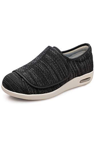 DENACARE Women's Wide Width Shoes with Adjustable Closure Lightweight for Diabetic Edema Plantar Fasciitis Bunions Arthritis Swollen Feet-SW2 Black