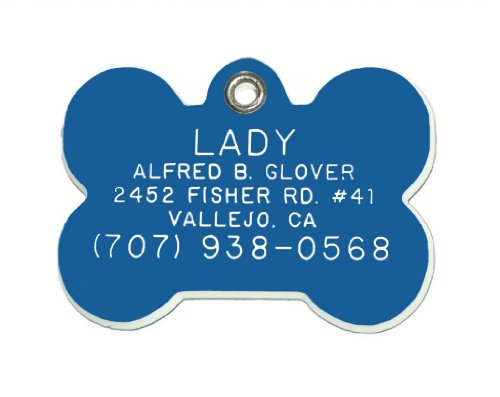 Bone Shaped Dog Cat Pet ID Tag Custom Engraved Acrylic Plastic 6 Colors & 3 Sizes to Choose From...
