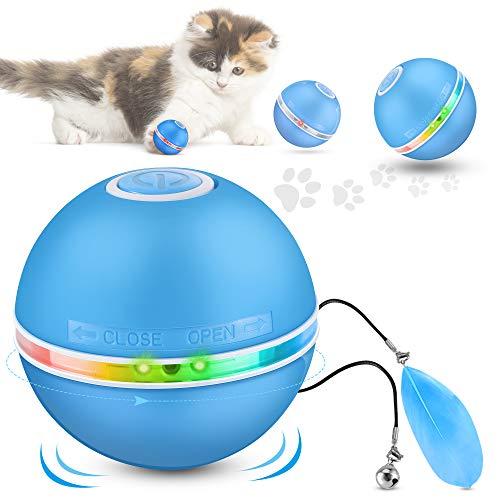 DazSpirit Interaktives Katzenspielzeug Ball Elektrisch Katzenbälle mit Led-Licht, Elektrischer Katzenspielzeug Ball Spielzeug Für Katzen Hunde,360 Grad Auto Drehender Katzenball,USB Aufladbar,3 Modi