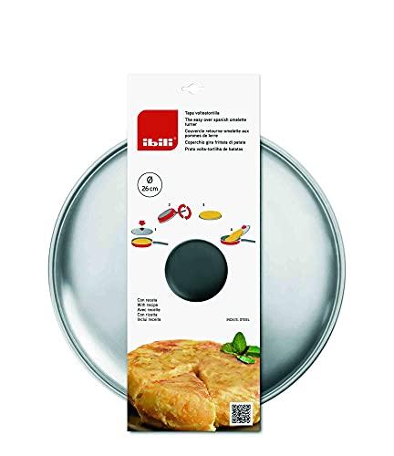 IBILI Tapa voltea Tortillas Incluye Receta patatas-30 cm, Acero Inoxidable, 30 Centímetros