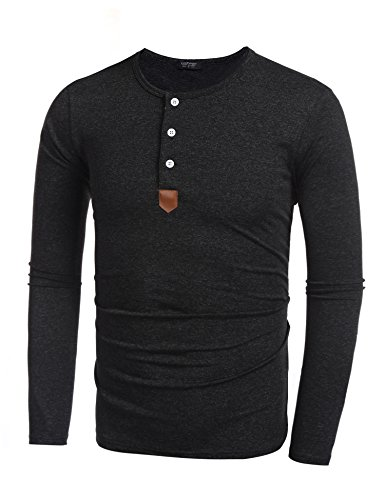 Coofandy Men's Casual Slim Fit American Flag Henley Shirts Cool Fashion T-Shirts (X-Large, Black1)