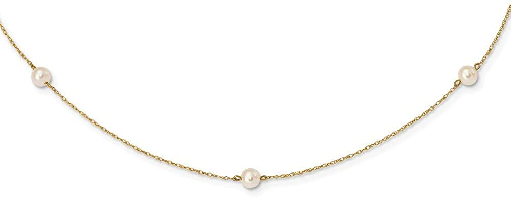 14k Yellow Gold 4-5mm White Round Freshwater Cultured Pearl 5-station Necklace 15.25