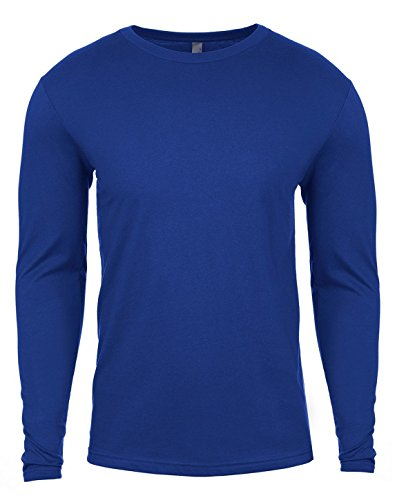 Camiseta entallada con cuello redondo y mangas largas premium para hombre de Next Level azul azul cobalto Medium