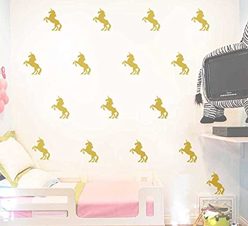 Astra Gourmet 20 Pcs Unicorn Wall Decals Stickers Removable Wall Stickers Murals For Kids Nursery Room Decoration Gold