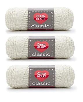 Red Heart Classic Yarn E267 3.5 Oz Eggshell 3-Pack