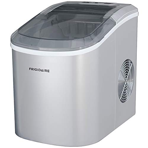 FRIGIDAIRE ICE206 Counter Top Compact Ice Maker, Silver, with See-through Lid (Renewed)