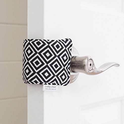 The Original Cushy Closer Door Cushion | No More Noisy Doors! | Door Latch Cover- Baby Safety for Quiet Doors (Quinn - Black & White)