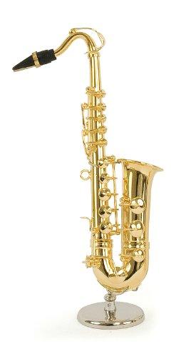 Sassofono tenore in miniatura - in ottone dorato - Oggetto di decorazione - regalo musica - Consegnato nel suo cofanetto con supporto - Altezza 16 cm
