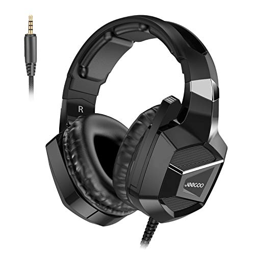 Jeecoo J20 Stereo Gaming Headset for PS4, Pro, Xbox One S, Xbox One Controller, Noise Cancelling Over Ear Headphones with Mic, Bass Surround Soft Memory Earmuffs for PC Nintendo Switch Games