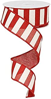 Striped Fabric Ribbon/Christmas Tree Garland, Red and White, 1.5