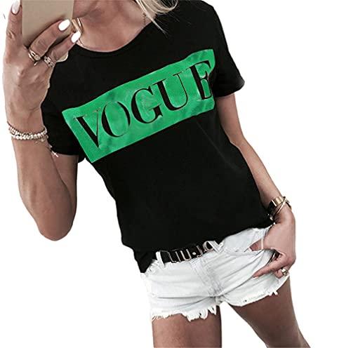 Manga Corta Mujer Blusa Simplicidad Generous Summer Cuello Redondo Mujer T-Shirt Exquisita Simplicidad Letras Impresión Diseño Diario Casual Transpirable All-Match Mujer Tops E-Black Green L