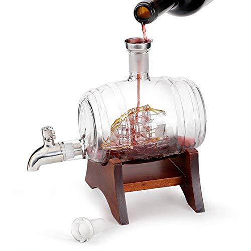 LKU 1000ml Holzfassflasche Schnapsflaschen Leere Glasweinflasche für Wodka und Whisky, 1000ml