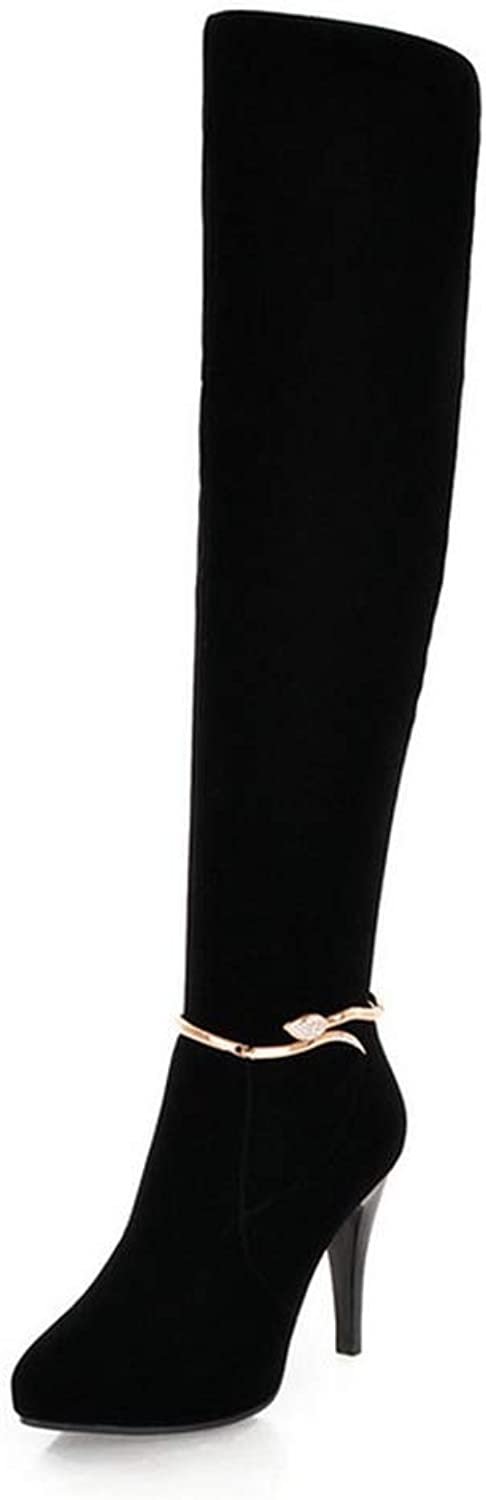 Hoxekle Woman Over The Knee Boots Rhinestone Chain Decor High Thin Heel Pointed Toe Zipper Ladies Sexy Party shoes