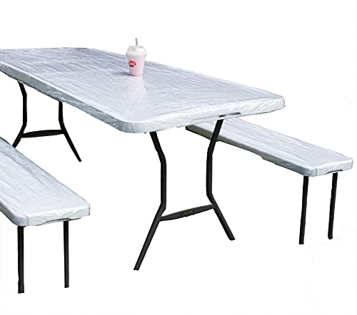 Rally Home Goods Outdoor Vinyl Tablecloth Rectangular Fitted Cover Table + Benches 3-pc Set, Elastic 30x72'' (6-FT), Waterproof Wipeable, Crystal Clear Odorless Plastic for Camping Picnic