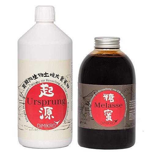 DIMIKRO Ursprung - traditionell japanische EM Urlösung 1L + Melasse aus Zuckerrohr 1L zur Herstellung von Effektive Mikroorganismen aktiv (EMa) im Fermenter