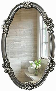 Style Européen Rétro Ovale Cadre en Résine Miroir Décoratif, Entrée Salle De Bains Chambre Salon Bureau Salle De Bains Miroir