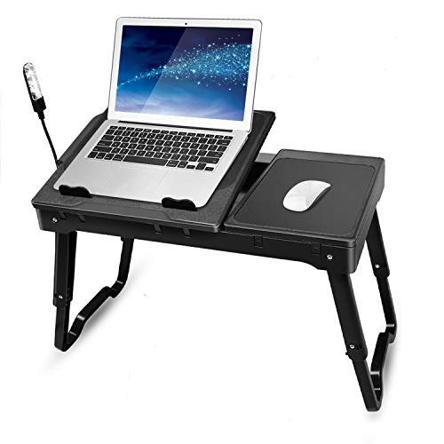 TeqHome Laptop Desk for Bed, Adjustable Laptop Bed Table with Fan, Portable Lap Desk with Foldable Legs, Laptop Stand for Couch Sofa Bed Tray with LED Light, 4 USB Ports, Storage, Mouse Pad