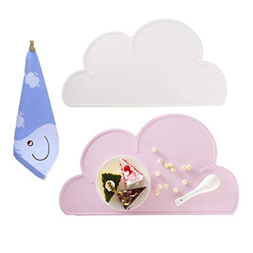 Tovagliette in silicone per neonati, Alldo antiscivolo lavabile impermeabile bella forma di nuvola Tovaglietta per bambini per tavolo da pranzo tappetino per alimentazione da tavola (Rosa + Bianco)