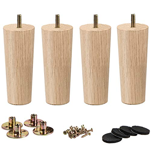 6 inch / 15cm Wooden Furniture Legs, La Vane Set of 4 Solid Wood Tapered M8 Replacement Furniture Feet with Pre-Drilled 5/16 Inch Bolt  Nebraska