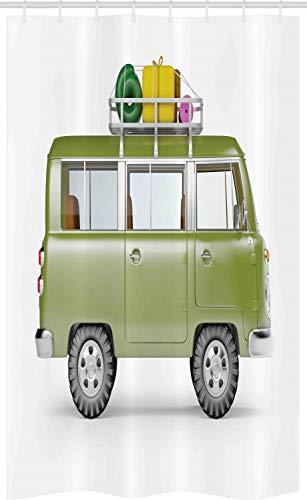 ABAKUHAUS happy Camper Douchegordijn, Retro Safari Van Afrika, voor Douchecabine Stoffen Badkamer Decoratie Set met Ophangringen, 120 x 180 cm, Veelkleurig