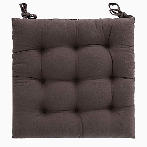 FENGLI - Cojín para silla antideslizante, suave y cómodo con lazos para la escuela o la oficina familiar (color: marrón, tamaño: 40 x 40 cm)