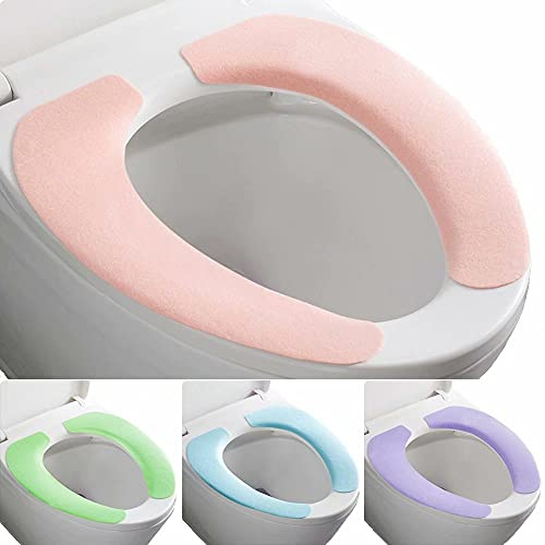 FACOYONG Bathroom Upgraded Warmer Toilet Seat Cover Pads 4 Pack, Portable Washable and Reusable Toilet Seat Cushion Pad