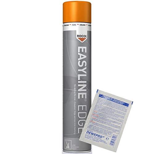 ROCOL Easyline® Edge Linienmarkierungsspray - Farbe: orange (RAL 2009) - 750ml Spraydose - Linienmarkierung - Linienmarkierfarbe inkl. 1 St. DEWEPRO® SingleScrubs