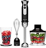 Andrew James Hand Blender 3 in 1 Set Electric with Whisk & Chopper Plus Bowl & Beaker | 5 Speed Plus Turbo | Great for Soup & Baby Food | 1000W | Black & Stainless Steel