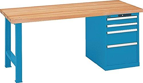 LISTA Werkbank, 1 Fuß, 1 Schubladenblock, 4 Schubl. 2x100,200,300 mm,elektr. Zahlenschloss, Multipl40 mm, BxTxH 2000x750x840 mm, RAL 5012 lichtblau