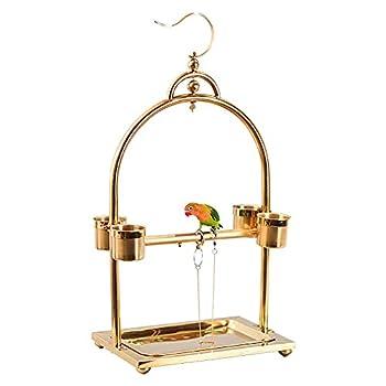 BCGT Pieds pour Cages à Oiseaux Stand de Suspension dorée en Acier Inoxydable Perroquet Cadre Oiseau Cage étagère avec Bols d'alimentation (Color : Gold)