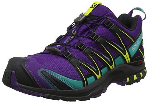 Salomon XA Pro 3D GTX W, Calzado de Trail Running para Mujer, Morado/Negro (Acai/Black/Dynasty Green), 36 2/3 EU