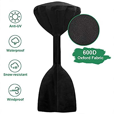 """INMUA Standup Patio Heater Cover, Heavy Duty 600D Oxford Fabric Waterproof Heater Cover for Outdoor Heater, Anti-UV, Windproof (34""""x18.5""""x95"""")"""