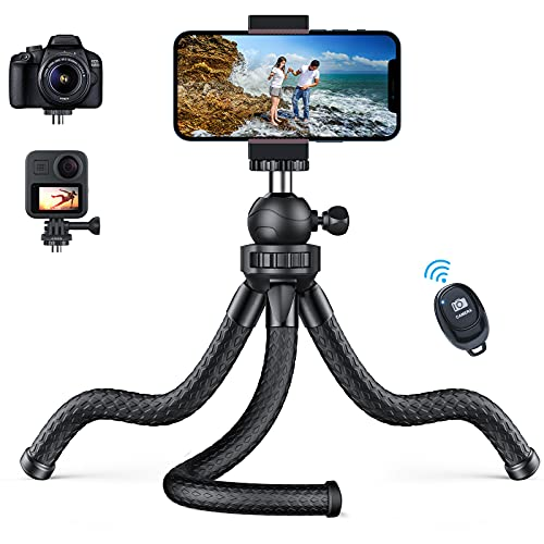 Phone Tripod - [Flexible & Stable] Tripod Stand for iPhone with Wireless Remote & 360°Rotation NEXMEE Travel Portable Tripod Stand Compatible with iPhone 12 11 Pro Max/Samsung/Sports Camera/GoPro