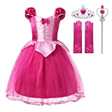 Muababy Baby Girl little Princess Snow,Belle,Little Mermaid,Anna,Cinderella,Rapunzel Party Tutu Dress with Accessories (4-5 Years, Hot Pink Aurora)