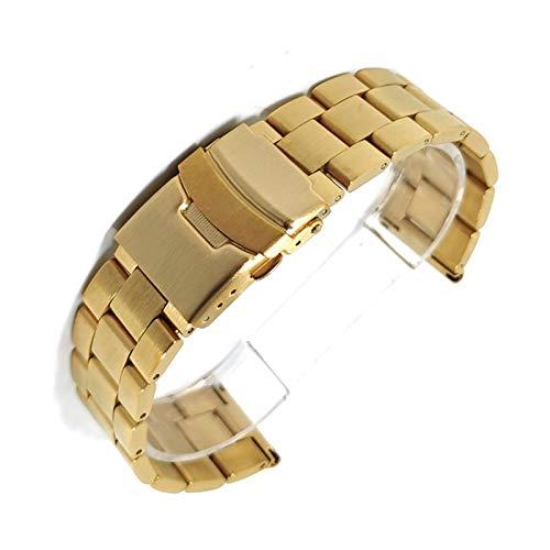 ZXF Correa de reloj de 20 mm, 22 mm, correa de acero inoxidable macizo, correa plegable de metal, repuesto para hombre, accesorios de pulsera (color de la correa: oro, ancho de la correa: 22 mm)